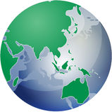 Map of Asia on globe   Stock Photography