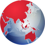 Map of Asia on globe  illustration Royalty Free Stock Images