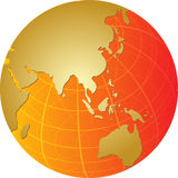 Map of Asia on globe  illustration Stock Photo