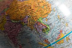 Map of Asia. In the globe mainly focus on Southeast Asia countries and China stock image