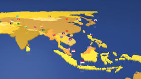 Map of Asia with national flags Stock Image