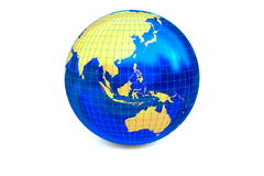 The map of the Asia-Pacific zone. The metal globe displays the golden continent with latitude and longitude  on the white background Stock Photo