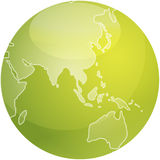 Map of Asia sphere. Map of Asia on a glossy sphere Stock Photography