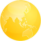 Map of Asia sphere. Map of Asia on a glossy sphere Stock Photo