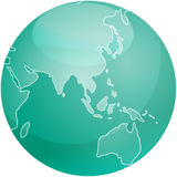 Map of Asia sphere Royalty Free Stock Photos