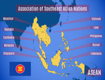 Map of Association of Southeast Asian Nations ASEAN. Schematic map of the country members of Association of Southeast Asian Nations ASEAN Stock Photos