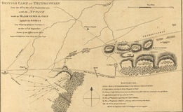 Map of the attack at White Horse Tavern, 1777. Stock Image