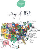 Map of attractions of United States of America Royalty Free Stock Photography
