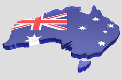 Map the Australia. A 3D Australia map with flag of the Commonwealth of Australia. Completely isolated background Stock Photography