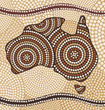 Map of Australia. Painting in the Aboriginal style Stock Photos