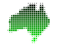 Map of Australia. In green squares Royalty Free Illustration