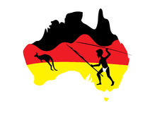Map of Australia and aboriginal man. Map of Australia in black red and yellow with a aboriginal man with a spear royalty free illustration