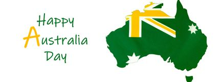 Map of Australia with Australian flag in unofficial green and gold banner. royalty free stock image