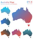Map of Australia with beautiful gradients. Actual set of Australia maps. Interesting vector illustration stock illustration