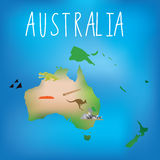 Map of Australia with cute child friendly icons Royalty Free Stock Image