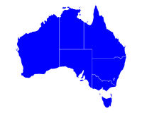 Map of Australia. Detailed and accurate illustration of map of Australia royalty free illustration