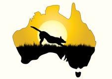 Map of Australia with dingo Stock Image
