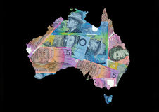 Map of Australia with dollars. Map of Australia with Australian dollars bills illustration Royalty Free Stock Photo