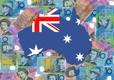 Map of Australia with dollars Stock Photo