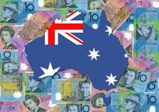 Map of Australia with dollars Stock Photo