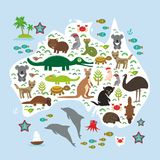 Map of Australia. Echidna Platypus ostrich Emu Tasmanian devil Cockatoo parrot Wombat snake turtle crocodile kangaroo dingo octopu. S fish. Vector illustration Royalty Free Stock Photography