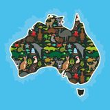 Map of Australia. Echidna Platypus ostrich Emu Tasmanian devil Cockatoo parrot Wombat snake turtle crocodile kangaroo dingo octopu Stock Photo