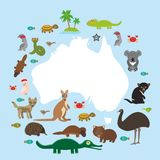 Map of Australia. Echidna Platypus ostrich Emu Tasmanian devil Cockatoo parrot Wombat snake turtle crocodile kangaroo dingo octopu Royalty Free Stock Photo