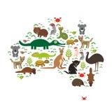 Map of Australia. Echidna Platypus ostrich Emu Tasmanian devil Cockatoo parrot Wombat snake turtle crocodile kangaroo dingo octopu Royalty Free Stock Image