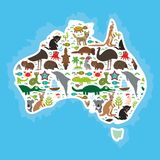 Map of Australia. Echidna Platypus ostrich Emu Tasmanian devil Cockatoo parrot Wombat snake turtle crocodile kangaroo dingo octopu Royalty Free Stock Images
