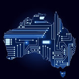 Map of australia with electronic circuit Stock Photography