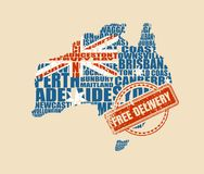 Map of Australia. Free delivery stamp. Map of Australia made from cities list. Textured by national flag. Vector illustration. Free delivery stamp Royalty Free Stock Photography