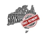 Map of Australia. Free delivery stamp. Map of Australia made from cities list. Vector illustration. Free delivery stamp Royalty Free Stock Photo