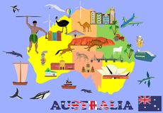Map of australia , Infosgraphic vector elements of the country, showing culture and places of country. Royalty Free Stock Image