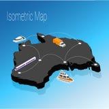 Map australia isometric concept. Stock Images