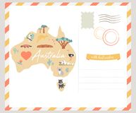Map of Australia with landmarks and wildlife. Travel card Royalty Free Stock Images