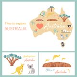 Map of Australia with landmarks and wildlife. Travel cards Stock Photo