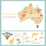 Map of Australia with landmarks and wildlife. Travel cards Royalty Free Stock Photos