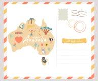 Map of Australia with landmarks and wildlife. Travel card Stock Photo