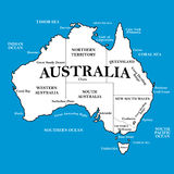 Map of Australia with locations on a blue background Royalty Free Stock Images