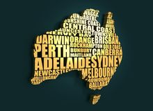 Map of Australia. Made from cities list. Golden material. 3D rendering Stock Image