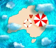 Map of Australia. With beach umbrella. Blue and bright turquoise sea, yellow sand background royalty free illustration
