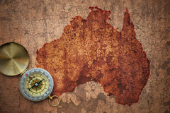 Map of australia on a old vintage crack paper Royalty Free Stock Image