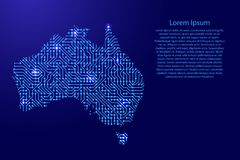 Map Australia from printed board, chip and radio component with. Blue star space on the contour for banner, poster, greeting card, of vector illustration Stock Photo