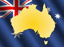 Map of Australia on rippled flag Stock Photos