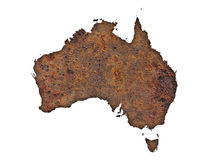 Map of Australia on rusty metal Stock Image