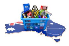 Map of Australia with shopping basket full of home and kitchen a Royalty Free Stock Images