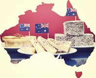 Map of Australia showing traditional Aussie tucker party food,. royalty free stock photography