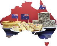 Map of Australia showing traditional party food. Map of Australia showing traditional Aussie tucker party food, lamingtons, fairy bread and meat pies, with stock images