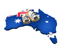 Map of Australia and Sydney Opera House Stock Photography