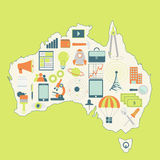 Map of Australia with technology icons Royalty Free Stock Image